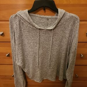SO gray cropped hoodie